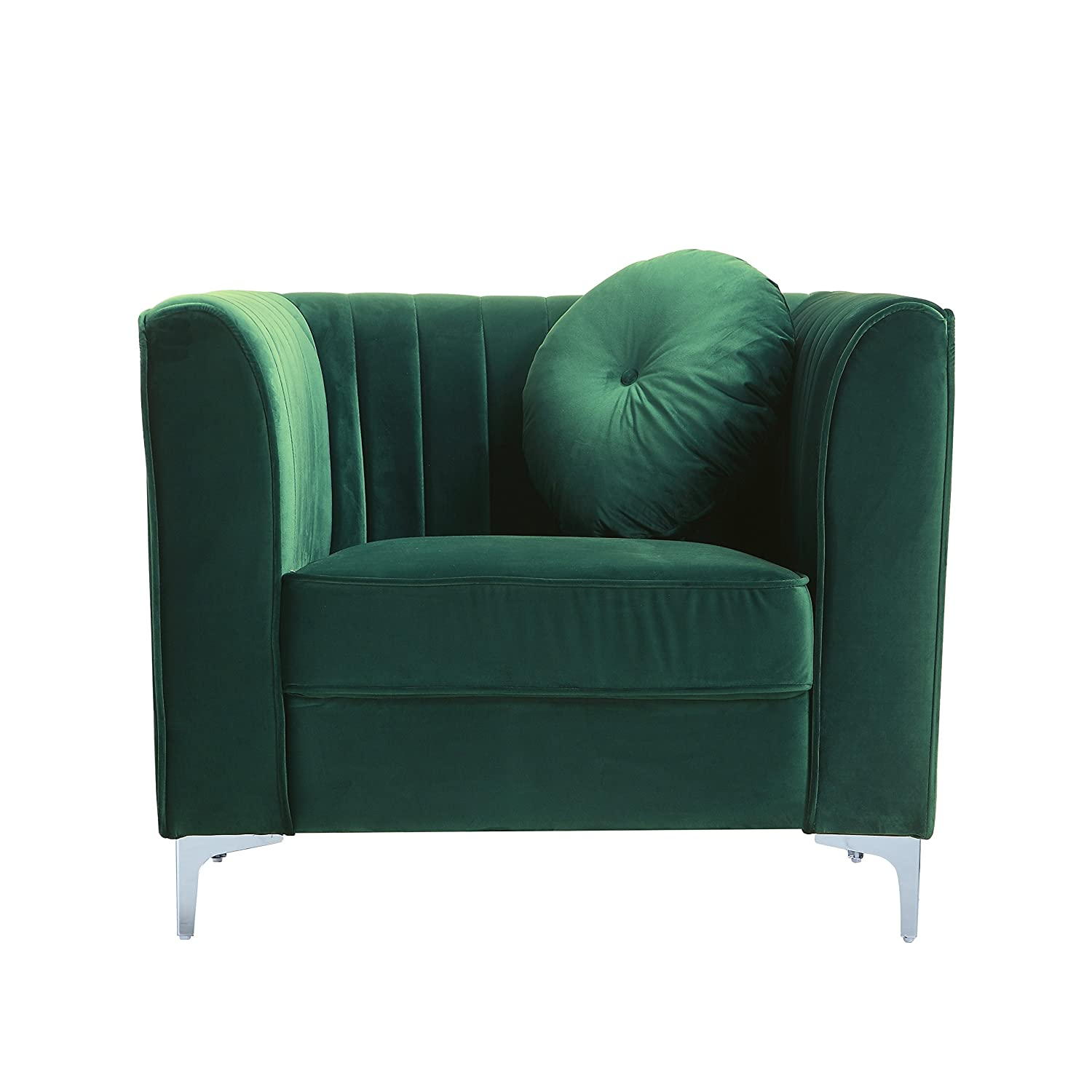 Classic And Traditional Living Room Marilyn Velvet Armchair, Club Chair With Tufted Accent Pillows (Green)