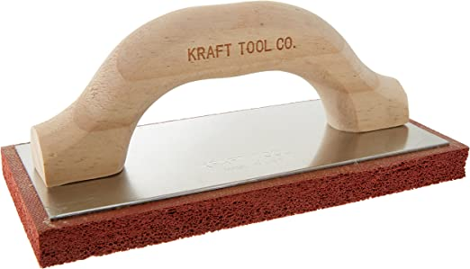 Kraft Tool PL371P Fine Cell Red Rubber Plaster Float with Plastic Handle 8 x 4 x 5//8-Inch