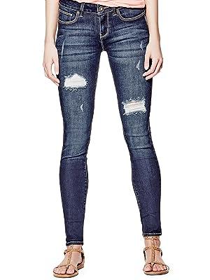 GUESS Women's Sienna Curvy Skinny Jeans in Dark Destroy Wash
