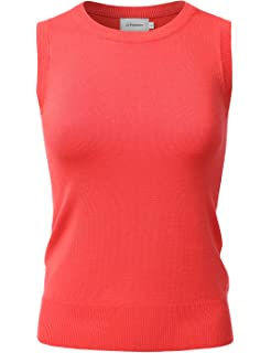 d6e17d63f6eaf JJ Perfection Women s Basic Round Neck Sleeveless Soft Knit Sweater Vest