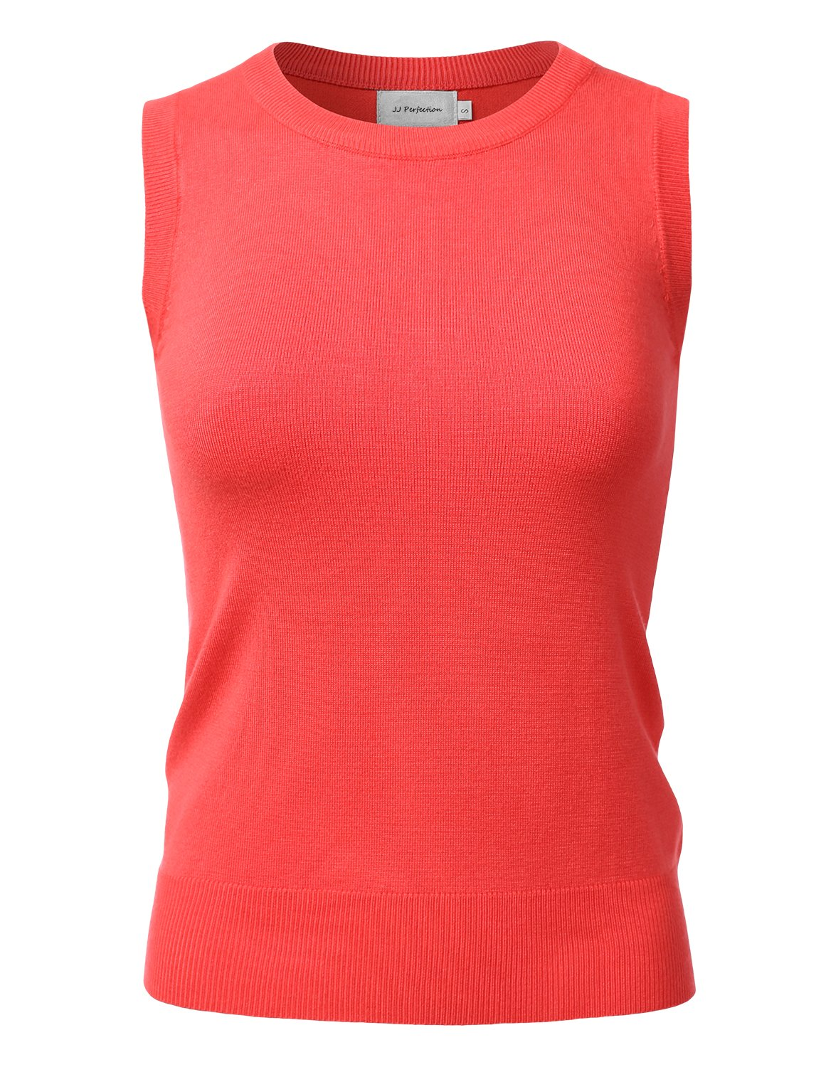 JJ Perfection Women's Stretch Knit Round Neck Sleeveless Pullover Sweater Vest Coral S
