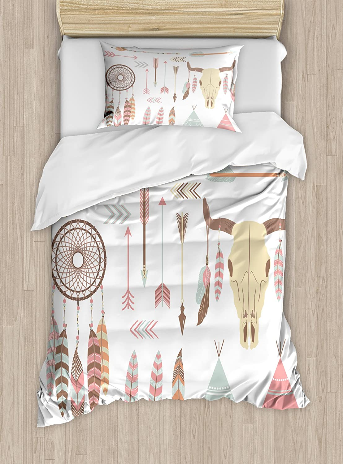 Ambesonne Feather Duvet Cover Set, Dreamcatcher Mountain Goat and Feathers with Arrows Image Print, Decorative 2 Piece Bedding Set with 1 Pillow Sham, Twin Size, Multicolor