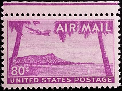 Amazon USPS 1952 Hawaii Diamond Head 80 Cent Airmail Postage Stamp In Mint Condition Scott C46 Everything Else