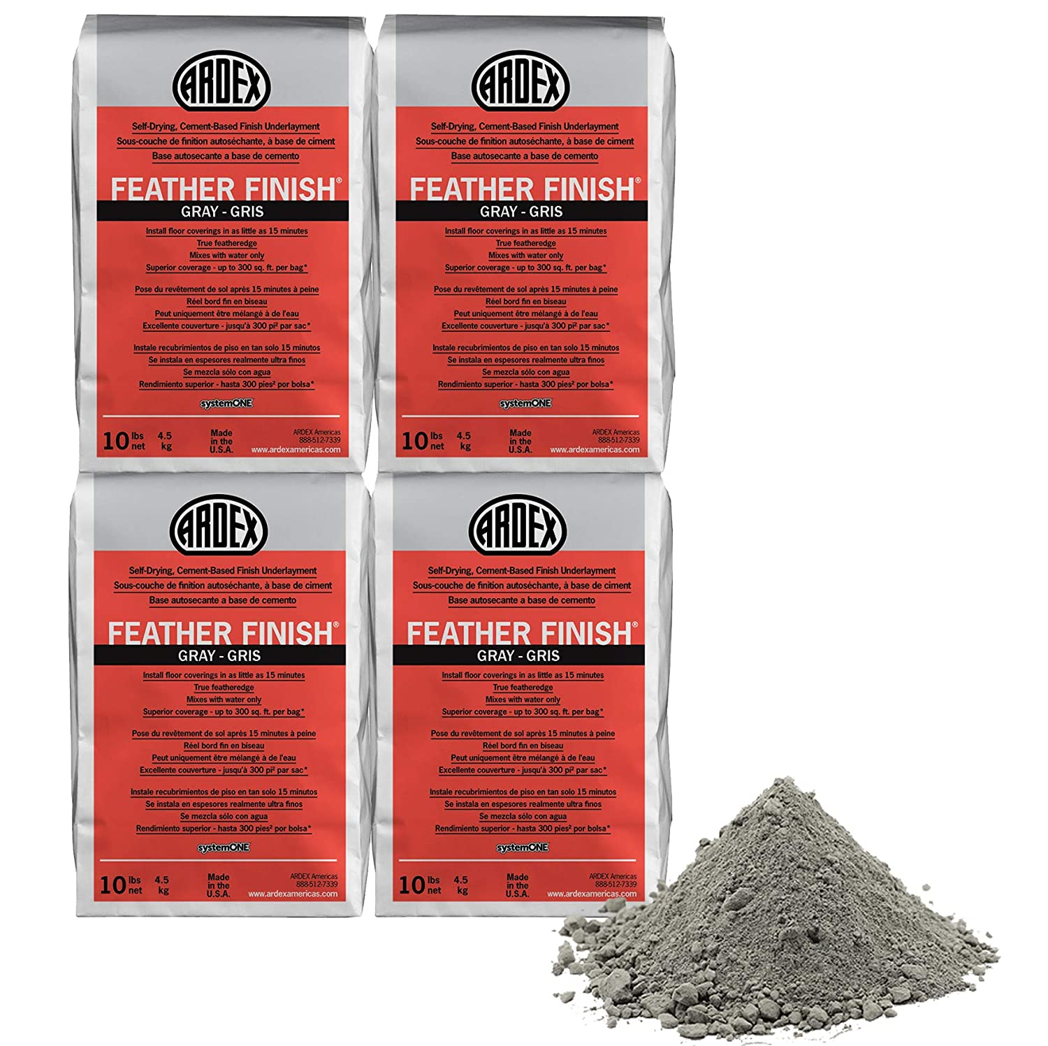 Image of Ardex Feather Finish Grey/Gray/Gris Self-Drying Cement Based Pack of 4 Bags 10 Lbs Home Improvements