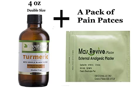 Liquid Turmeric Curcumin Supplement. A Natural Pain Relief Supplement and Joint Supplements Organic Tumeric Drops with Black Pepper Extract. Pain Patches for Back Pain and Anti Inflammatory 4 oz.