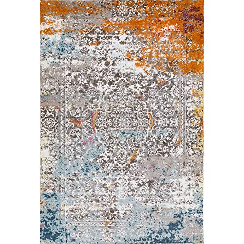 Decomall Vienna Modern Distressed Vintage Watercolor Abstract Bohemian Persian Shabby Chic Area Rug for Living Room, Bedroom, 4×6 ft, Grey Orange