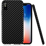 iPhone X Case,Luxury Leather Slim Carbon Fiber Protective Shockproof Flexible Tpu Bumper Full Body Thin Hybrid Drop Protection Anti-Slip Scratch Resistant Cover Cases Armor for Apple iPhone X - Black