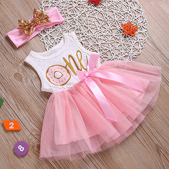 Toddlers Easter Dress Baby TuTu Dress Infant Pageant Dress Pink Tie-Back Baby Birthday Dress PD074-2