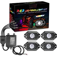 RGB Rock Light Kits, OFFROADTOWN RGB LED Rock Lights with 4 pods Lights Neon Trail Rig Lights Underglow Off Road Truck…