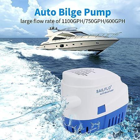 12V 750GPH Automatische Bilgenpumpe MoreChioce Automatische Tauchboot Bilgenwasser Pumpe Elektrische Marine Bilgenpumpen f/ür Marineboote Yacht Caravan Camping