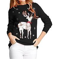 V28 Women Girl Ugly Christmas Shining Reindeer Snowflake Pullover Sweater Jumper