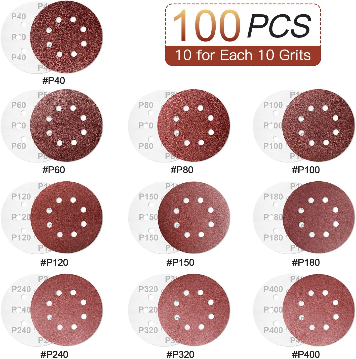HTLY SPR 8-Holes Hook and Loop Sanding Discs 40//60// 80//100// 120//150// 180//240// 320//400 Grits Assorted Sandpaper Pads 125mm for Random Orbital Sander Sanding Discs Pads 60 PCS