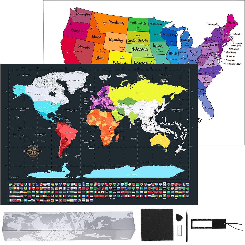 Amazon.com: Kustares Scratch Off Map of The World - Premium Scratch ...