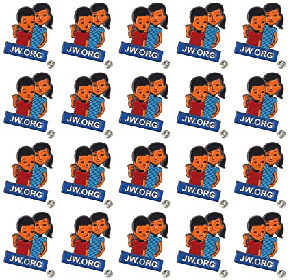 TANG SONG 20PCS JW ORG Caleb and Sophia Lapel Pin Become Jehovah's  Friends-Kids pin