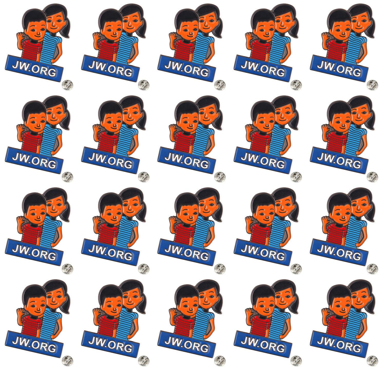 TANG SONG 20PCS JW.ORG Caleb and Sophia Lapel Pin Become Jehovah's Friends-Kids pin