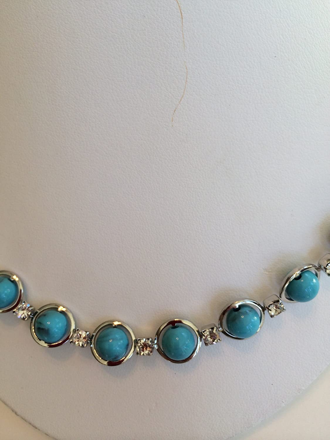 1928 Jewelry Co Silver Tone Necklace with Turquoise Beads & Crystals 016