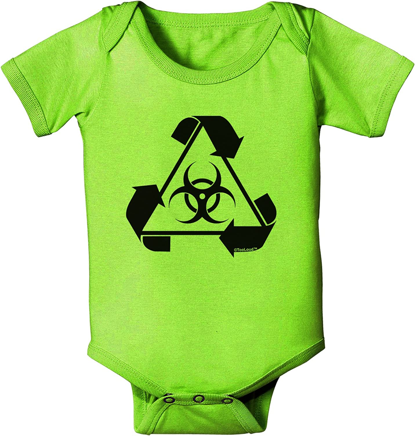 TooLoud Recycle Biohazard Sign Black and White Baby Romper Bodysuit