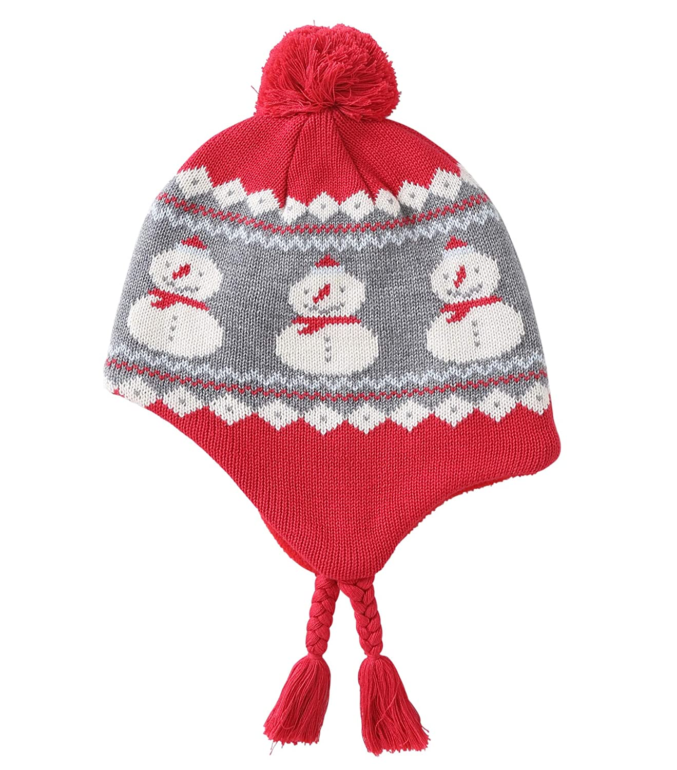 Connectyle Toddler Boys Girls Cotton Knit Kids Hat with Earflap Winter Hats