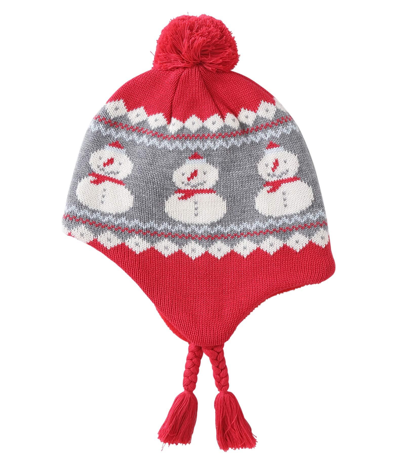 Connectyle Girls Boys Knit Kids Hat Fleece Lined Earflap Beanie Hat Warm Winter Beanies Skull Cap