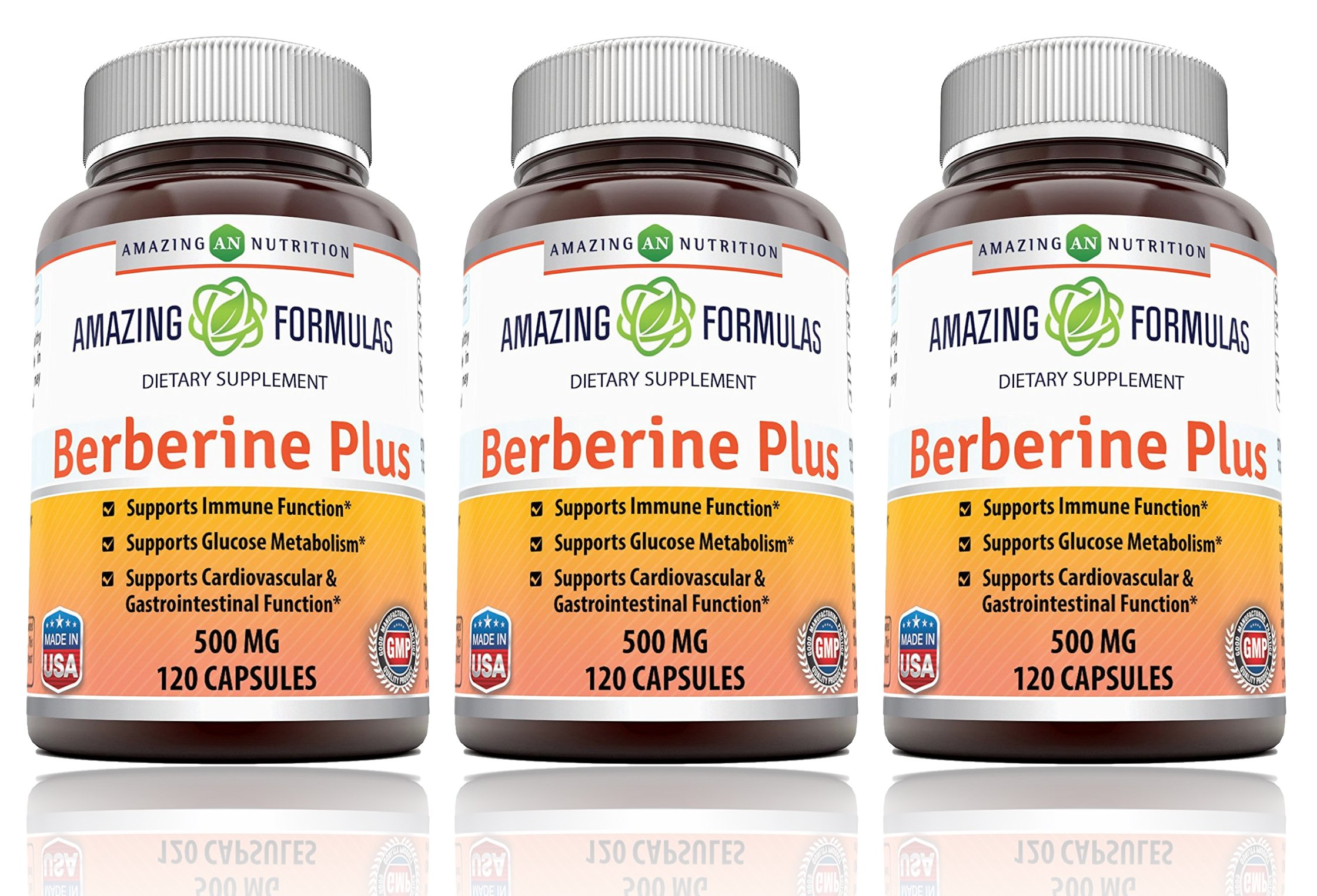 Amazing Nutrition Berberine Plus 500 mg 120 Capsules - Supports immune system - Supports glucose metabolism - Aid in healthy weight management - (3 Pack)
