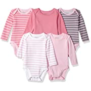 Hanes Ultimate Baby Flexy 5 Pack Long Sleeve Bodysuits, Pink Stripe, 0-6 Months