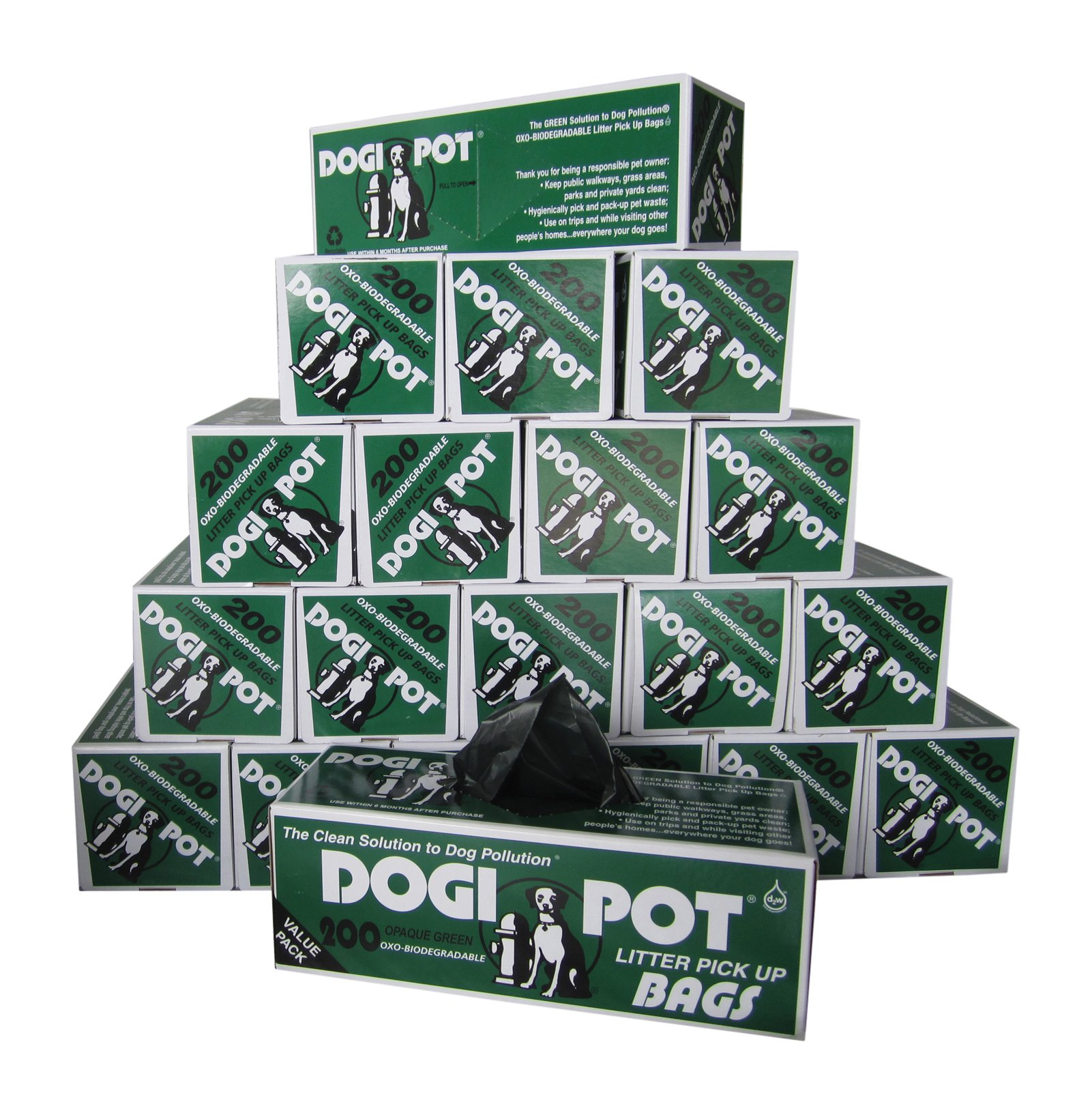 DOGIPOT 1402-20 20 Roll Case, Litter Pick up Bag Rolls, 200 Bags per Roll (4000 Bags) by Dogipot