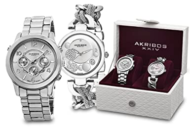 Akribos XXIV Women s Quartz Diamond and Multifunction Bracelet Silver-Tone Genuine Leather Watch