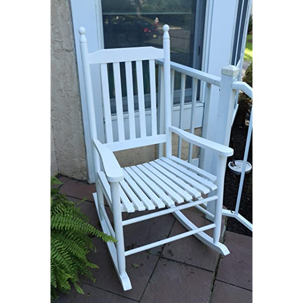 "LIFE Home Oliver and Smith - Nashville Collection - Wooden White Patio Porch Rocker- Rocking Chair - Made in USA - 24.5"" W x 33"" D x 46"" H"