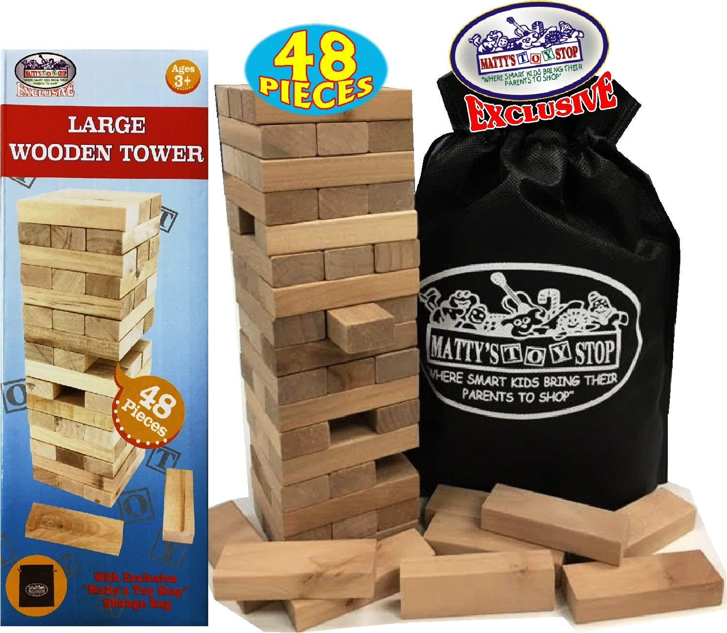 Wooden Tower Deluxe Stacking Game with Exclusive ''Matty's Toy Stop'' Storage Bag by Matty's Toy Stop