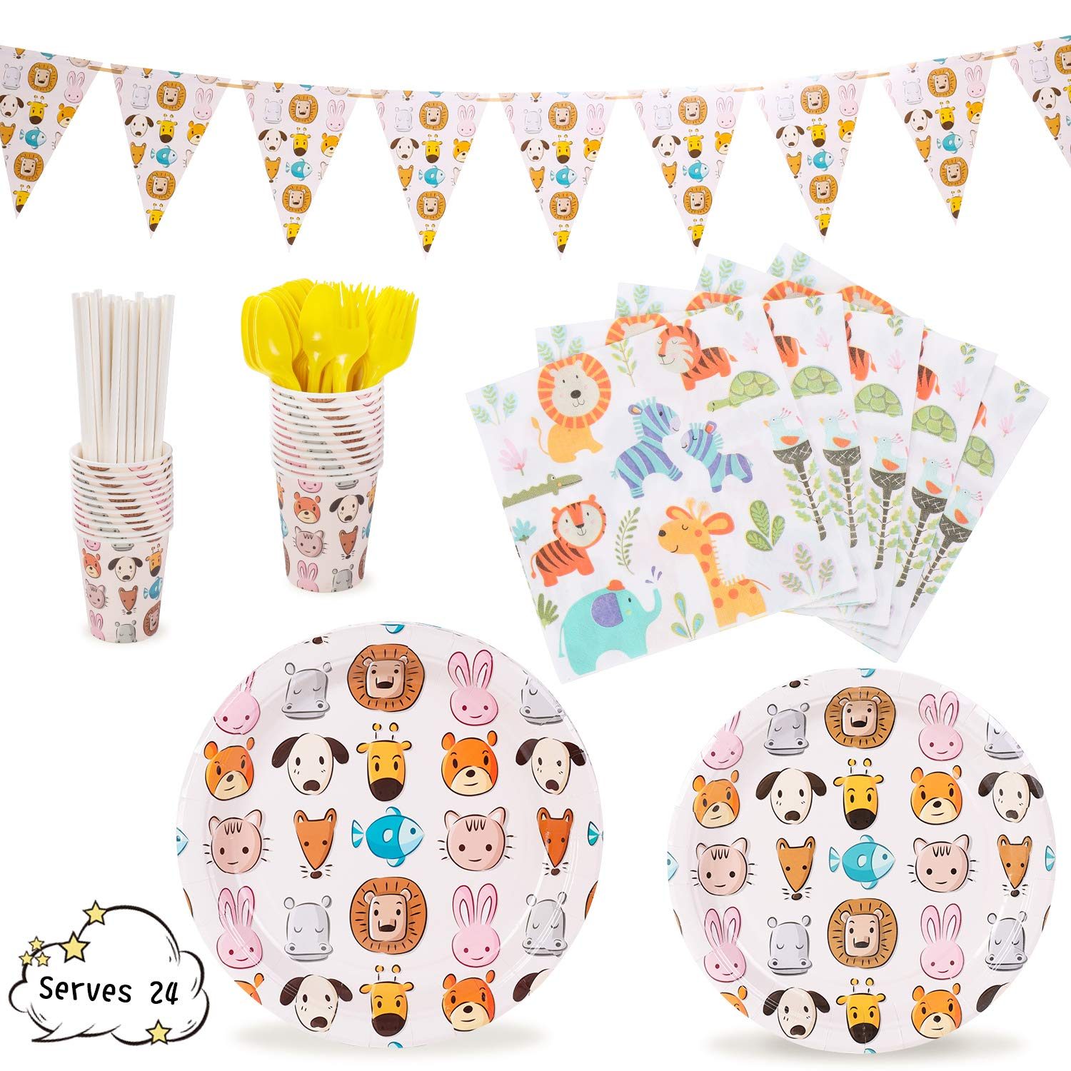 Animal Party Supplies Decorations Animal-Themed Jungle theme Zoo Pets Dinnerware 169 Pcs Serves 24 Includes 7''&9'' Paper Plates Napkins Straws Knives Forks Cups Banner For Birthday, Animals Themed Parties, Serves 24 by Party Family
