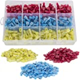 Ginsco 300pcs 22-18/16-14/12-10 Gauge Nylon Fully Insulated Female Spade Wire Crimp Quick Disconnects Wire Terminals Connector Set Red Blue Yellow
