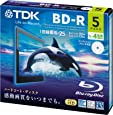 TDK 録画用ブルーレイディスク BD-R 25GB 1-4倍速 ホワイトワイドプリンタブル 5枚 5mmスリムケース BRV25PWB5A