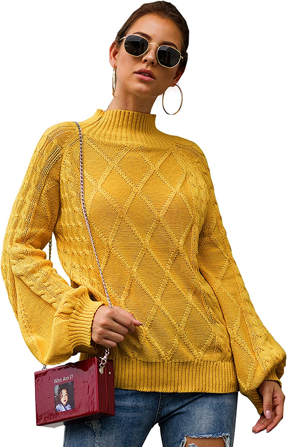 Yidarton Sweaters Womens Chunky Turtleneck Casual Knitted Jumper Pullover Long Sleeve Tops Ladies