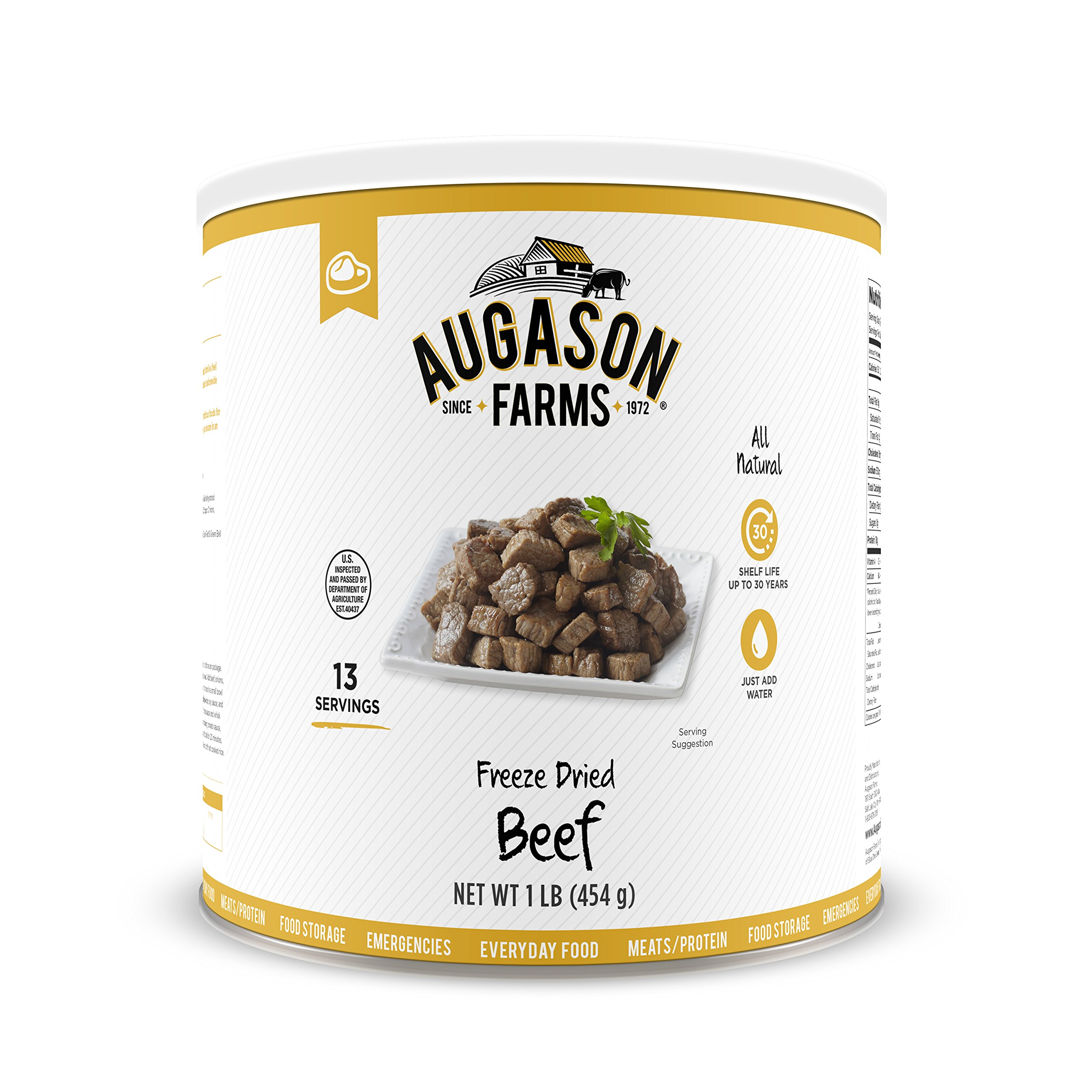 Augason Farms Freeze Dried Beef Chunks 1 lb No. 10 Can by Augason Farms