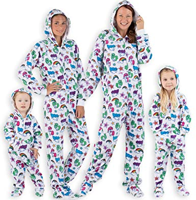 c7ac644175 Footed Pajamas Family Matching Unicorns Adult Hoodie Fleece Onesie - Medium  White
