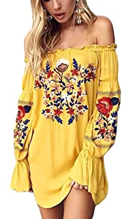 bcc43bf92e R.Vivimos Womens Floral Embroidered Off Shoulder Long Sleeve Short Dresses
