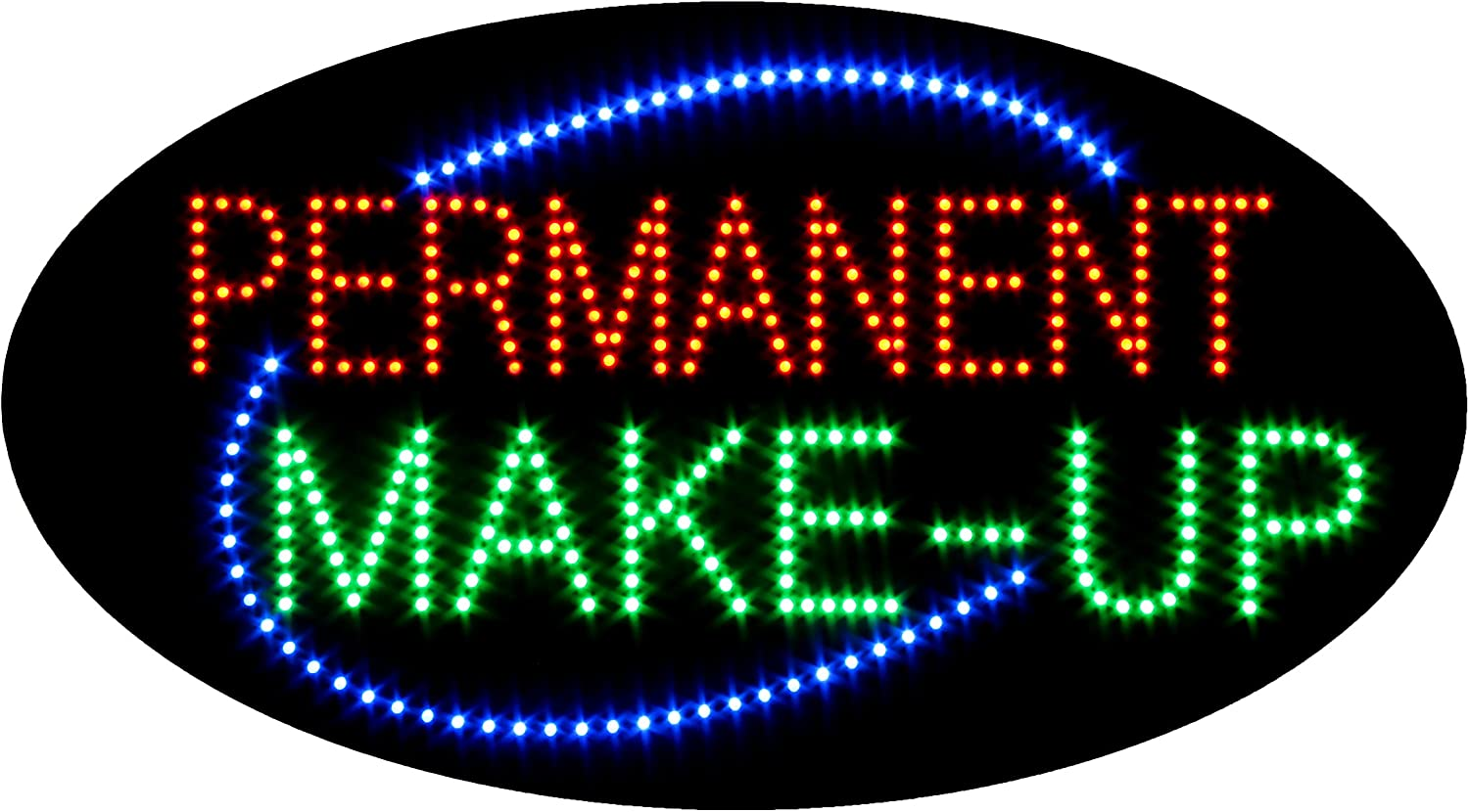 LED Permanent Make Up Cosmetics Open Light Sign Super Bright Advertising Display Board for Beauty Eyebrow Lash Microblading Spa Business Shop Store Window Bedroom Decor (27 x 15 inches)