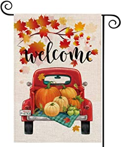EKOREST Fall Welcome Garden Flags for Outside,Truck with Pumpkins Maple Leaves,Harvest Decorative Farmhouse Flag for Patch,12.5 x 18 Inch Double Sided,Small Thanksgiving Yard Decor for Autumn Outdoor