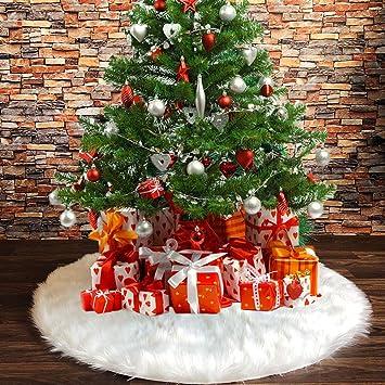 Tenrany Home Blanca Falda de Árbol de Navidad, Peluche Christmas ...