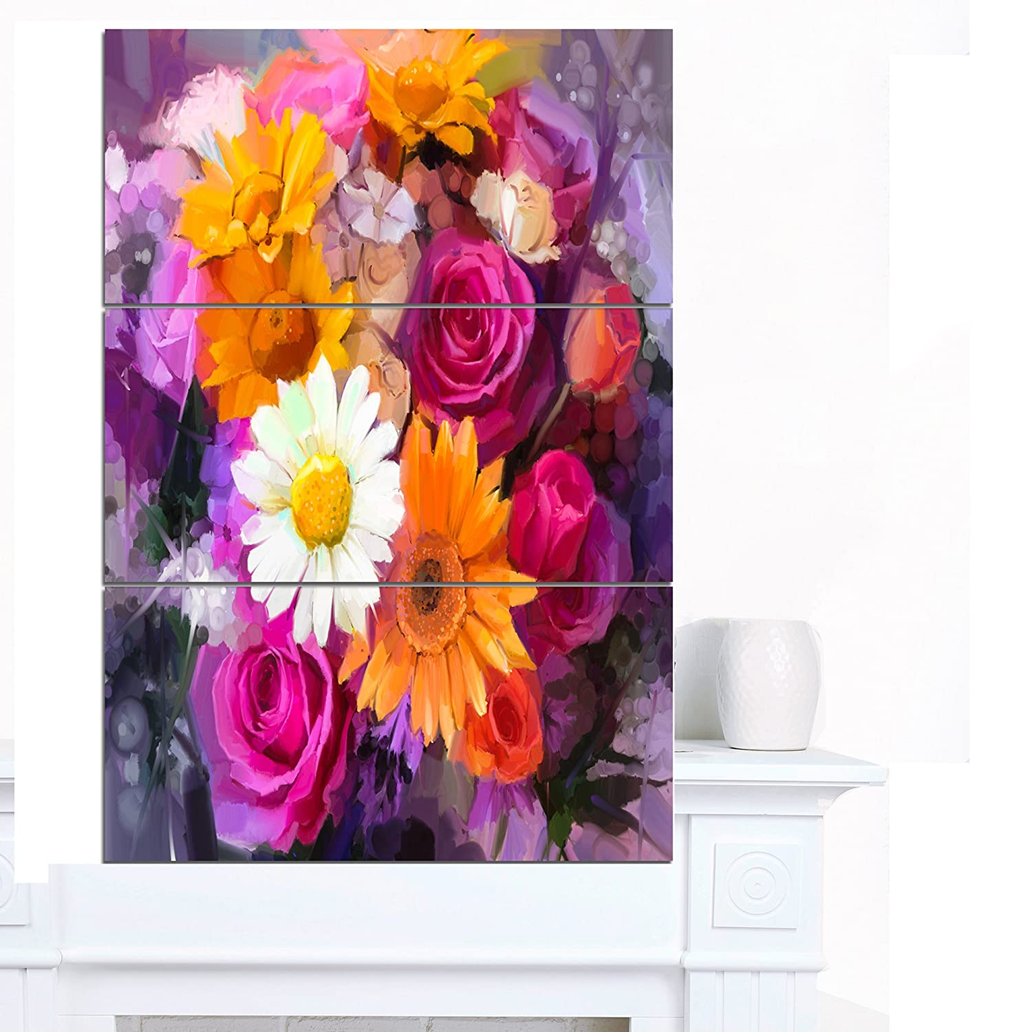 Orange Designart MT14129-401V Bouquet of Flowers Watercolor Large Floral Glossy Work Metal Wall Art 28x60