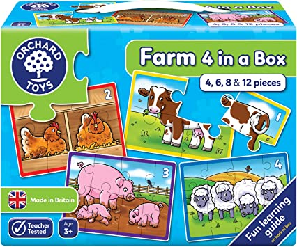 Orchard Toys Farm Four in a Box, Multi Color