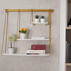 RoomA Gold floating shelf for wall shelf |Floating shelves white gold farmhouse bedroom decor bookshelf- modern, aesthetic, hanging, mounted, tier, storage, nursery, bathroom, display(Gold and White)