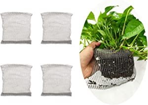 HUNIKC 4Packs 1 Gallon Root Protector Wire Baskets(304 Stainless Steel) Root Guard Heavy Duty Gopher Wire Baskets (S)