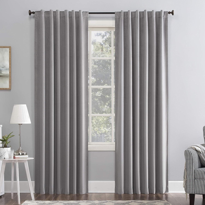 Sun Zero Hampshire Velvet Noise Reducing Thermal Extreme 100% Blackout Back Tab Curtain Panel, 50
