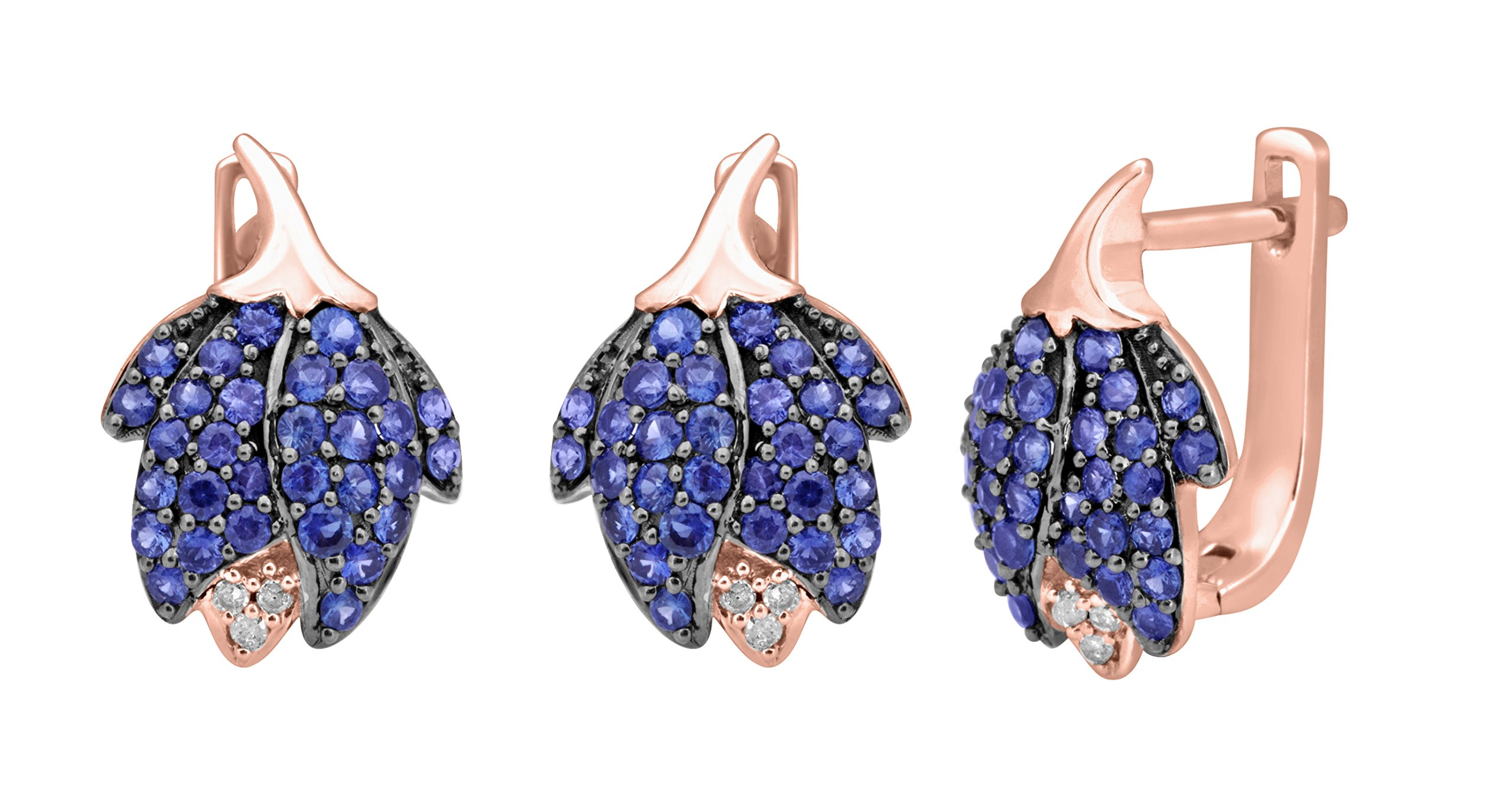 Christmas Gift, Rare, Anniversary Gift, Jewel Ivy 14K Pink Gold Earrings with Sapphire and Diamond (I2-I2-GHI)