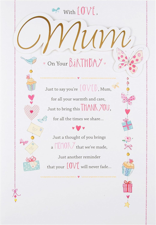 Mum Birthday Card Embossed With Sentiment Verse