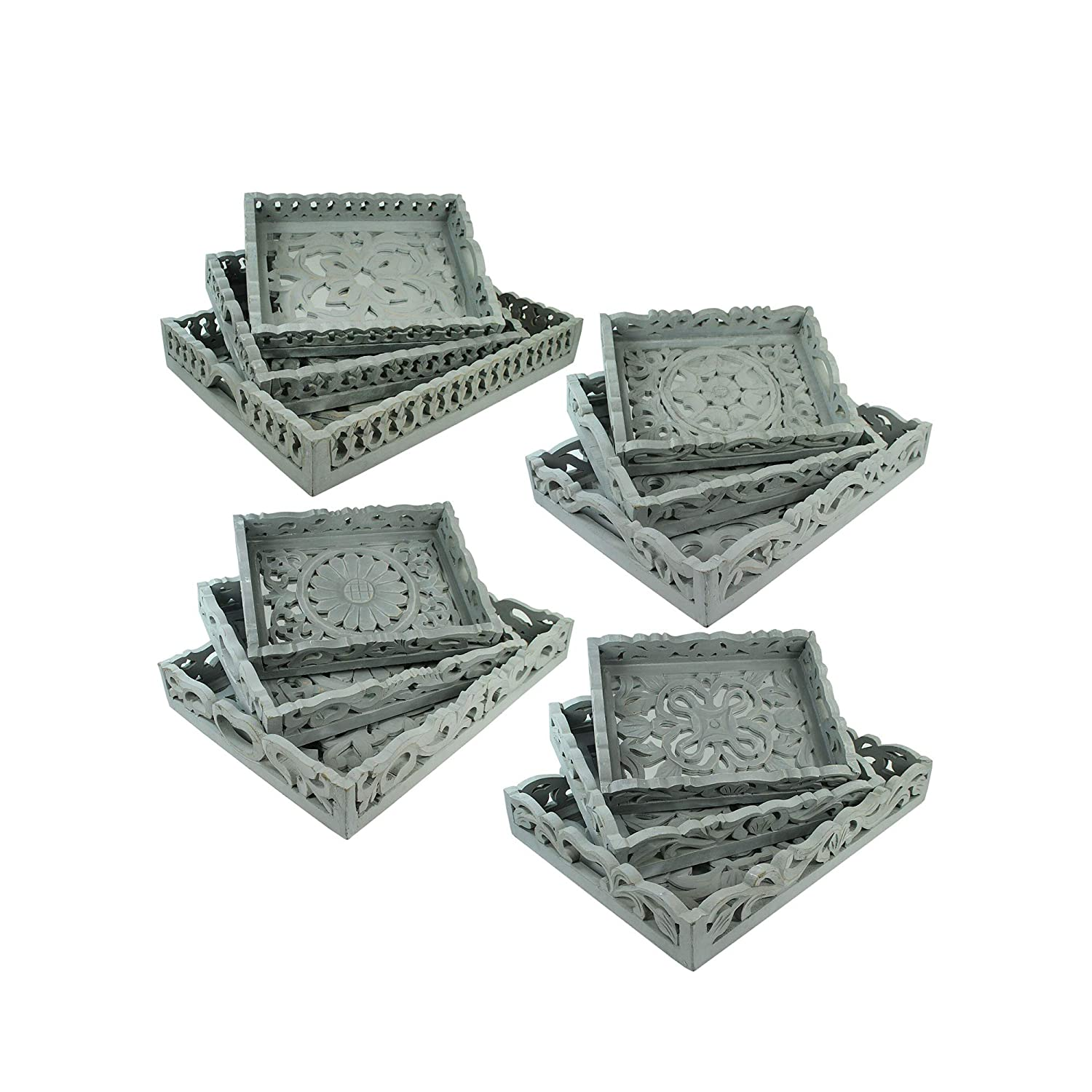 Benjara 3 Piece Mirror Inset Tray Set with Wood Carvings Gray Assortment of 4