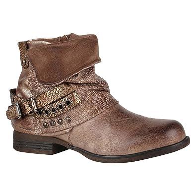 Gef tterte Damen Biker Boots Nieten Schnallen Stiefeletten 891433 Schuhe