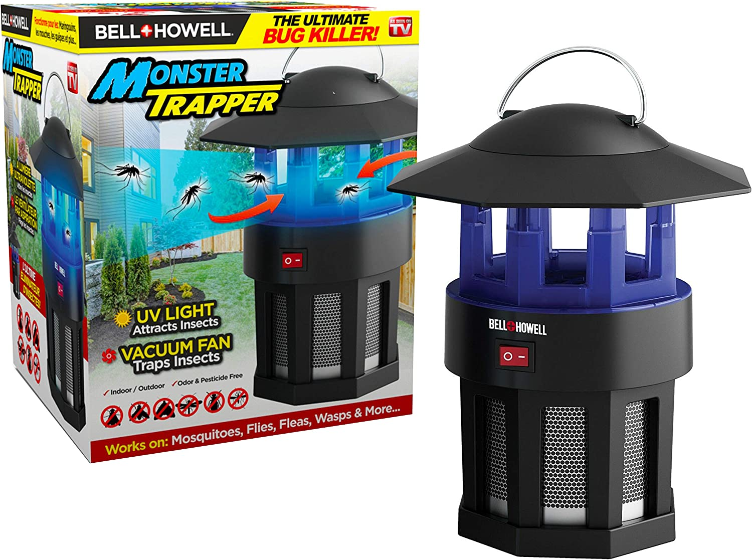 "Bell+Howell Monster Trapper 1923 Vacuum-Based Trap for Bugs and Insects, No Zapping Noise, Whisper-Quiet, 100% Chemical-Free, Pest Killer As Seen On TV, 8.5"" x 7.5"""