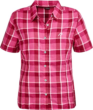 Maier Sports Karo - Camiseta de manga corta con cremallera para mujer, color rosa